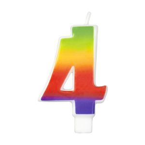 Rainbow-Colored Numeral #4 Candle